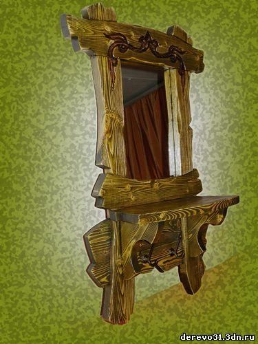 Зеркало из дерева под старину фото